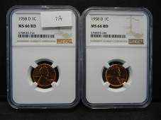 2 1958 D Lincoln Cents NGC MS66RD