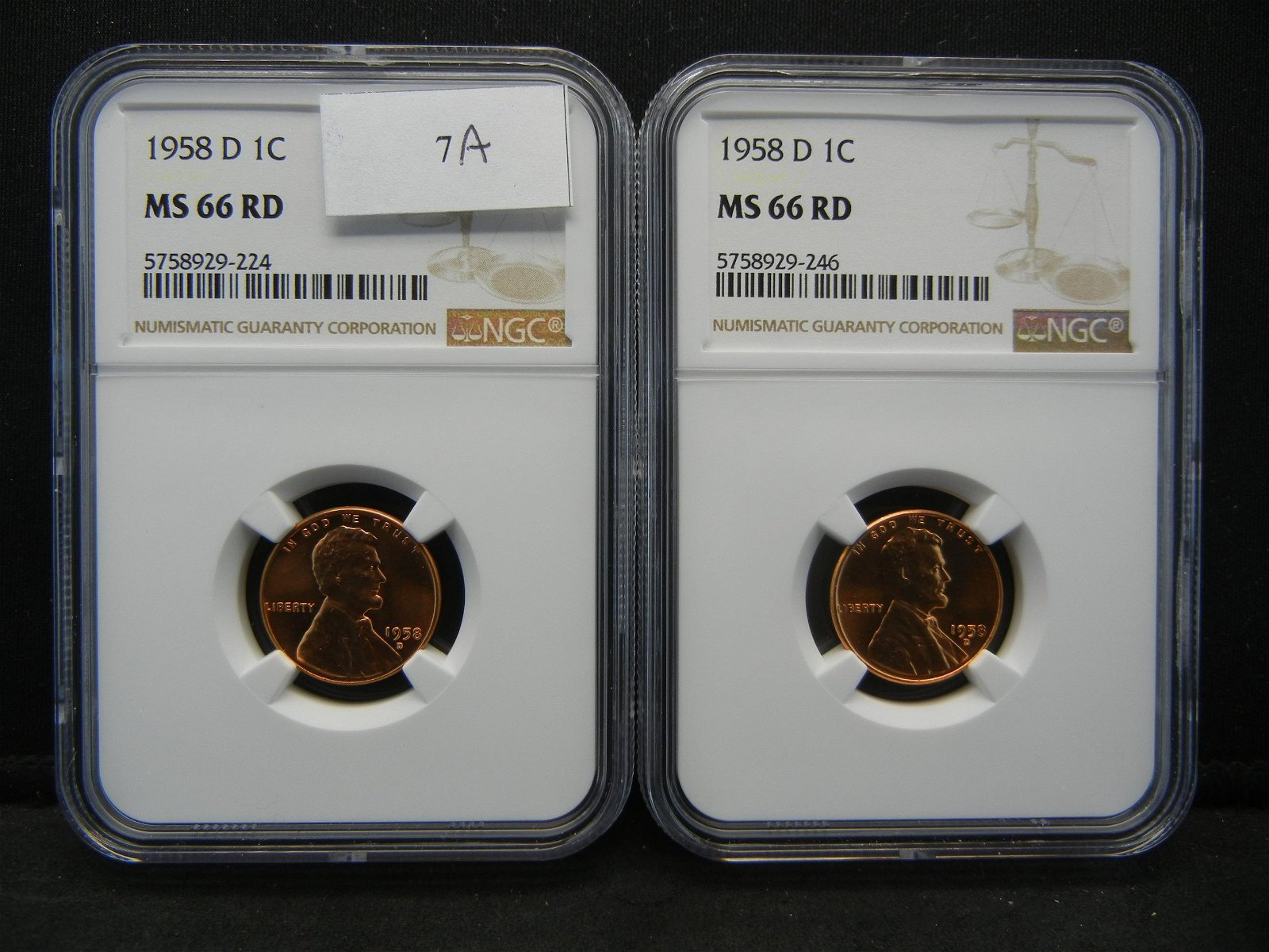 (2) 1958 D Lincoln Cents NGC MS66RD