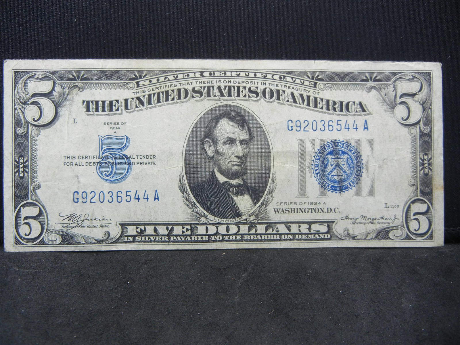 1934 A $5.00 Blue Seal Note