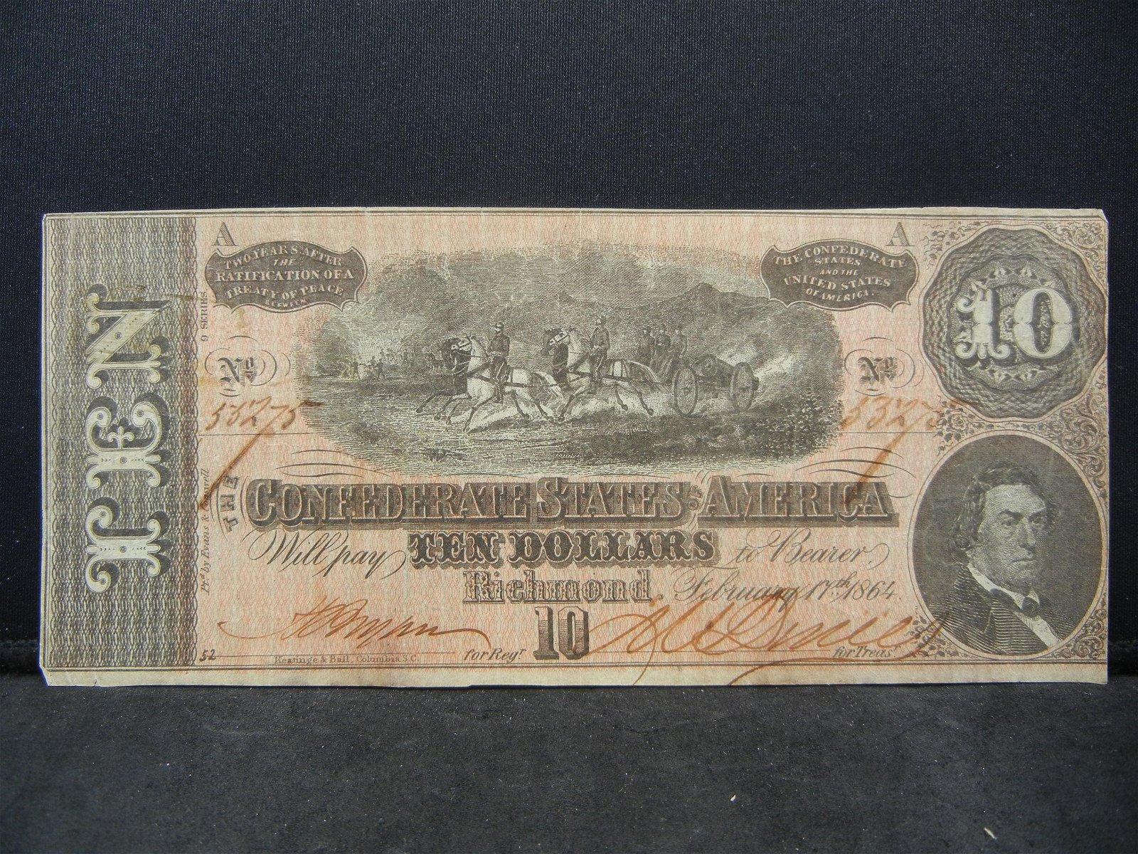 1864 Confederate Ten Dollar Bill