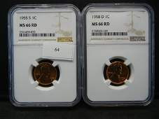 1955s1958d Lincoln Cents NGC MS66RD