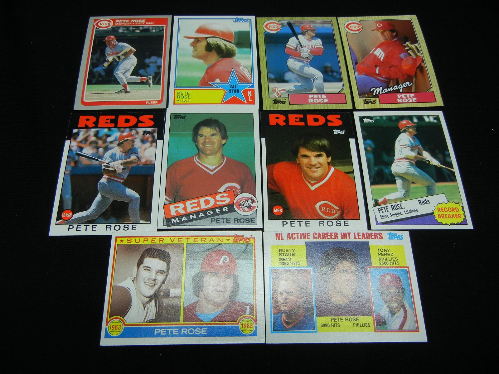 10 Near Mint Pete Rose Baseball Cards