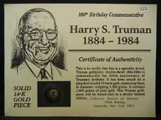Harry Truman 100th Birthday Commemorative Solid 14K