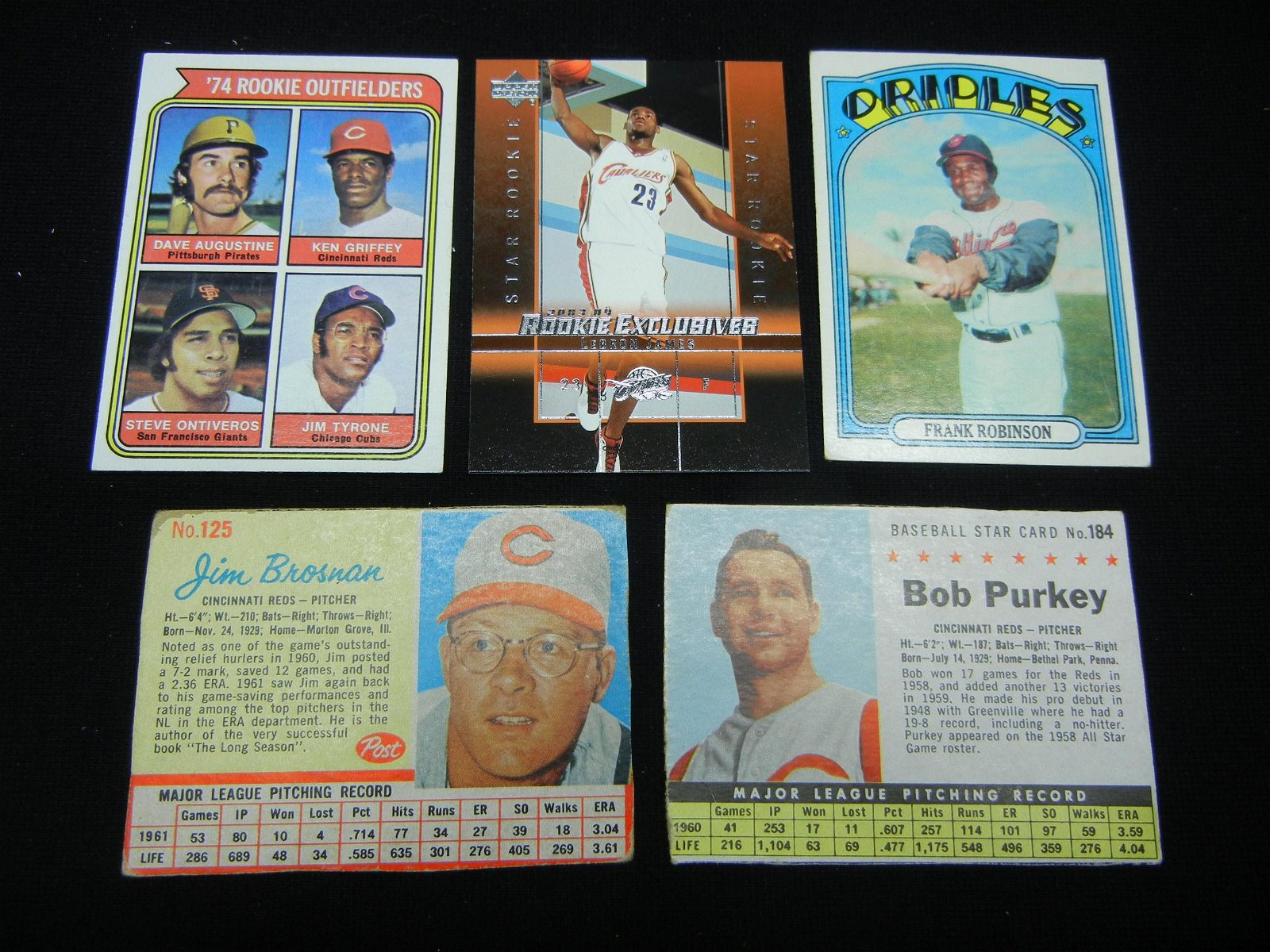 (4) Baseball Cards, and a Lebron James Rookie Card