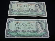 2 1954 Ottawa Bank of Canada One Dollar Notes