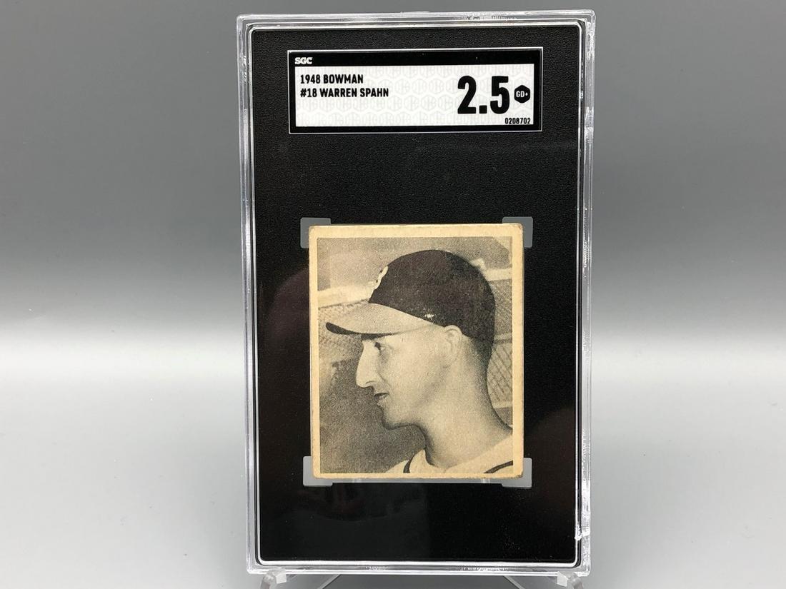 1948 Bowman Warren Spahn #18 SGC 2.5 Rookie