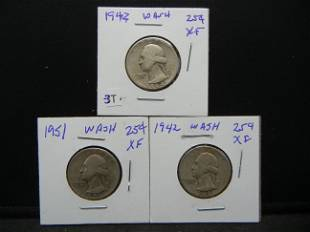 1942 44 51 Washington Quarters