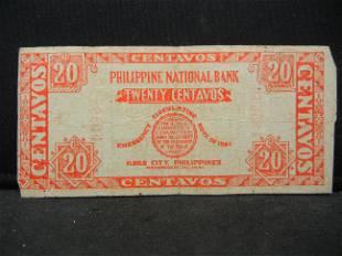 1941 Philippines Emergency 20 Centavos Note Rare