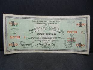 1941 Philippines Emergency 1 Peso Note Rare