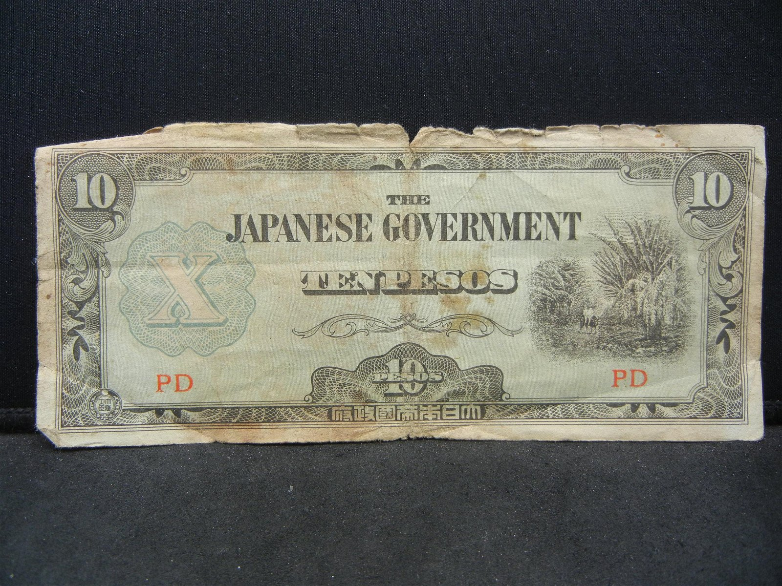 Japan Government Ten Pesos WWII Invasion Currency,