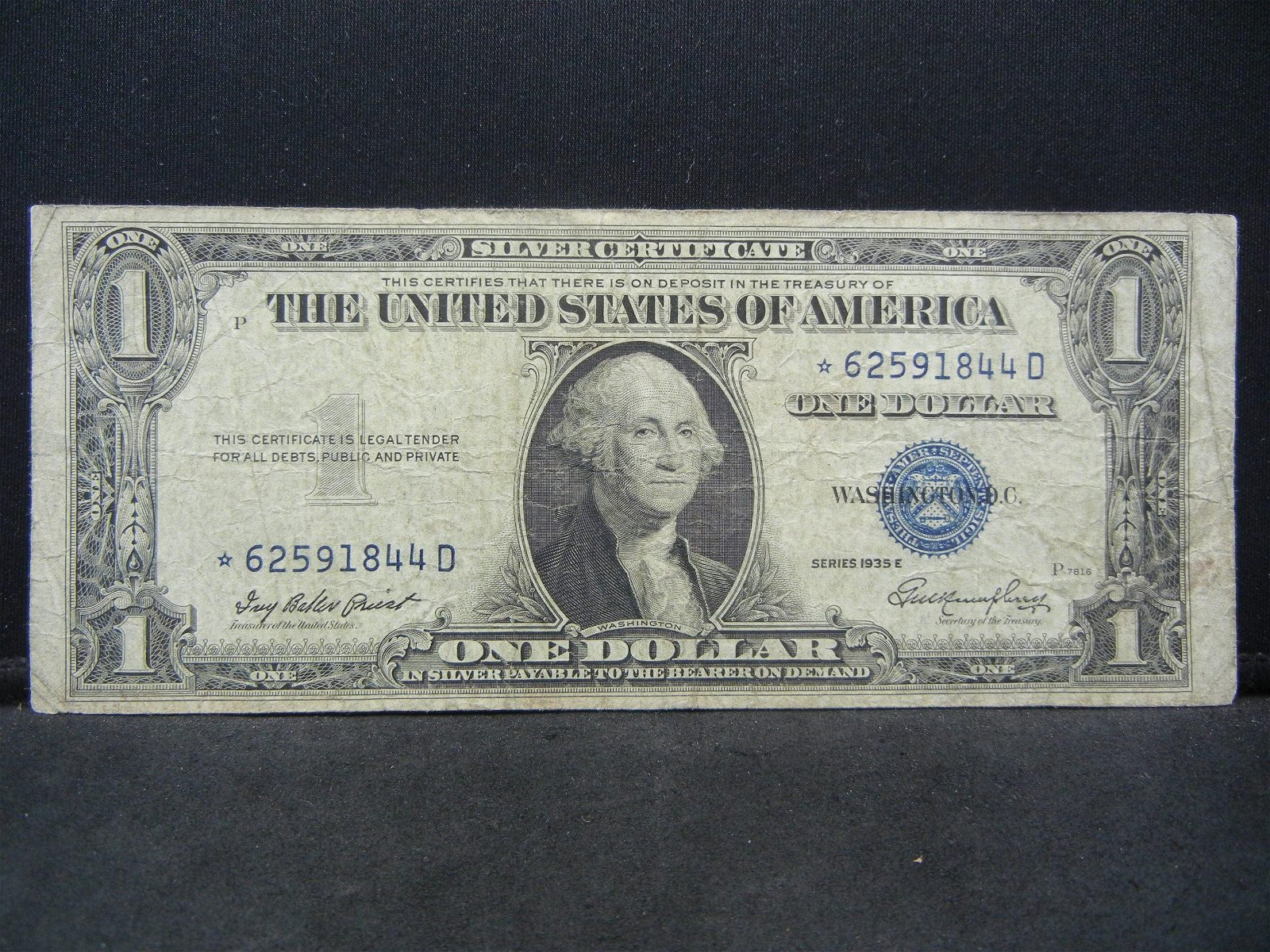 1935 E STAR $1 Replacement Note.  Very Fine.