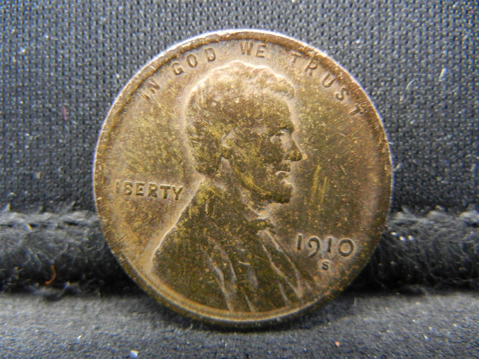 1910-S Semi-Key Date Lincoln Head Cent.