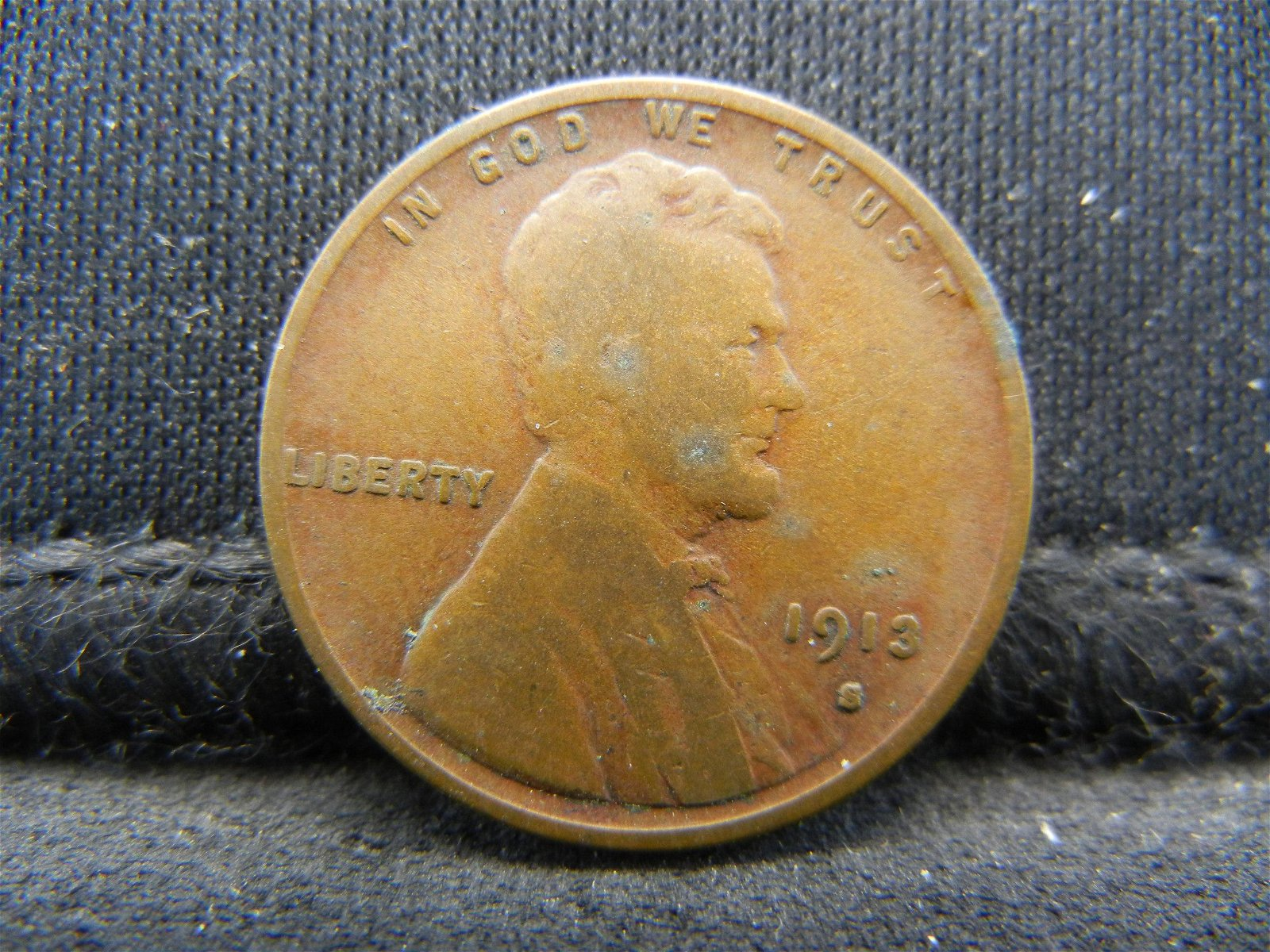 1913-S Semi-Key Date Lincoln Head Cent.