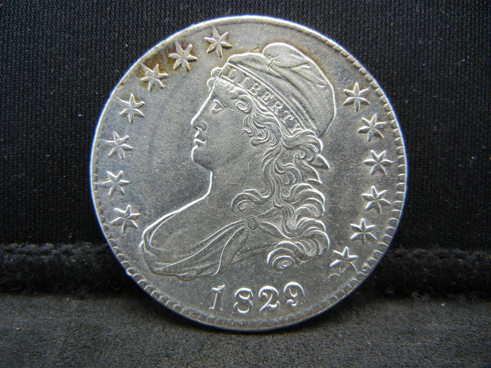 1829/7 Bust Half Dollar AU Tough Overdate Coin