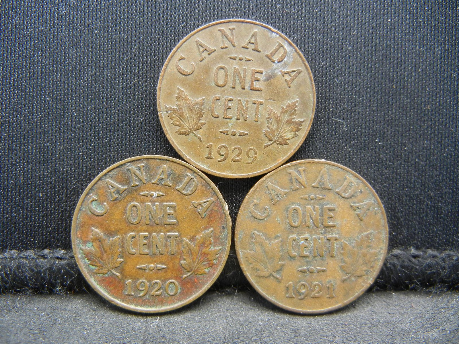 3 Canada George V Cents Dated 1920 1921 1929.