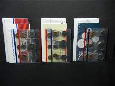 1987 1988 1989 United States 10-Coin Mint Sets With