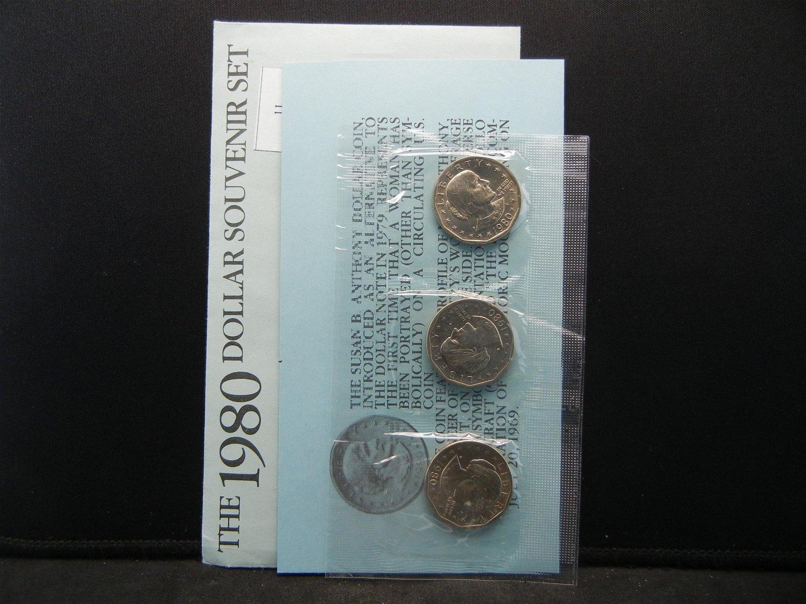 1980 United States Susan B. Anthony 3 Dollar Set w/