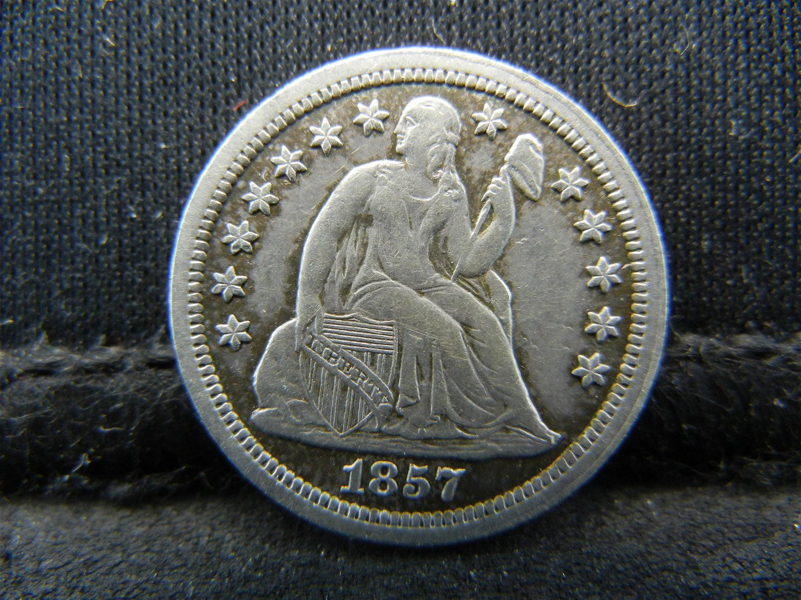 1857 United States Seated Liberty Silver Dime
