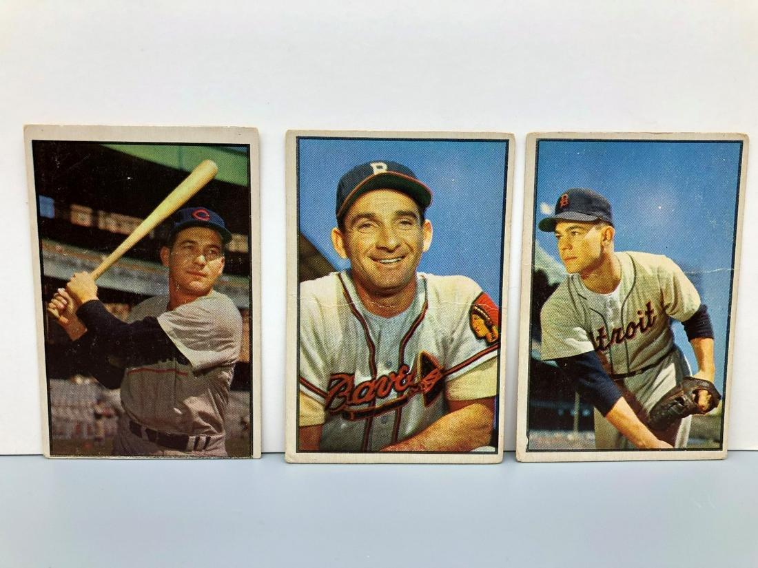 (3) 1953 Bowman Color Baseball Cards 4,5,94