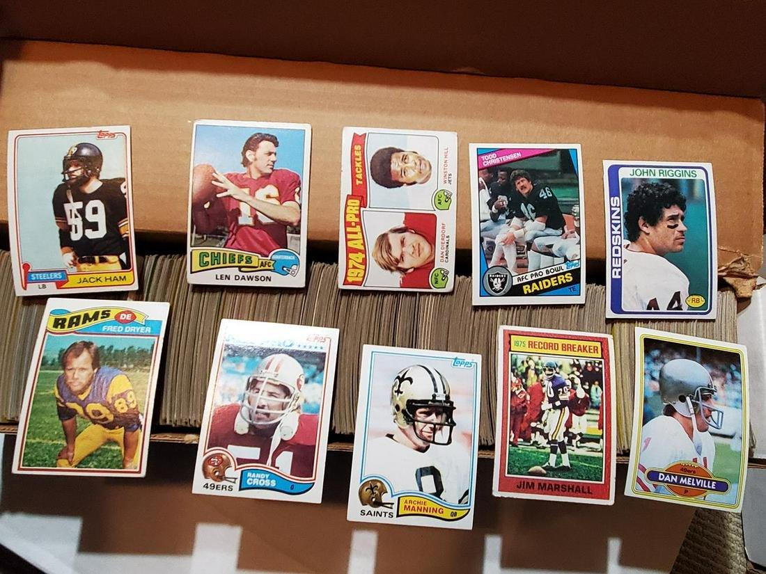 Box of 750+ Vintage Football Cards w/Stars