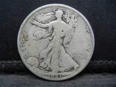 1921 D Walking Liberty Half Dollar VG/F Key Date