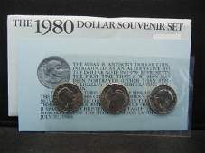 1980 United States Susan B Anthony 3 Coin Dollar Set