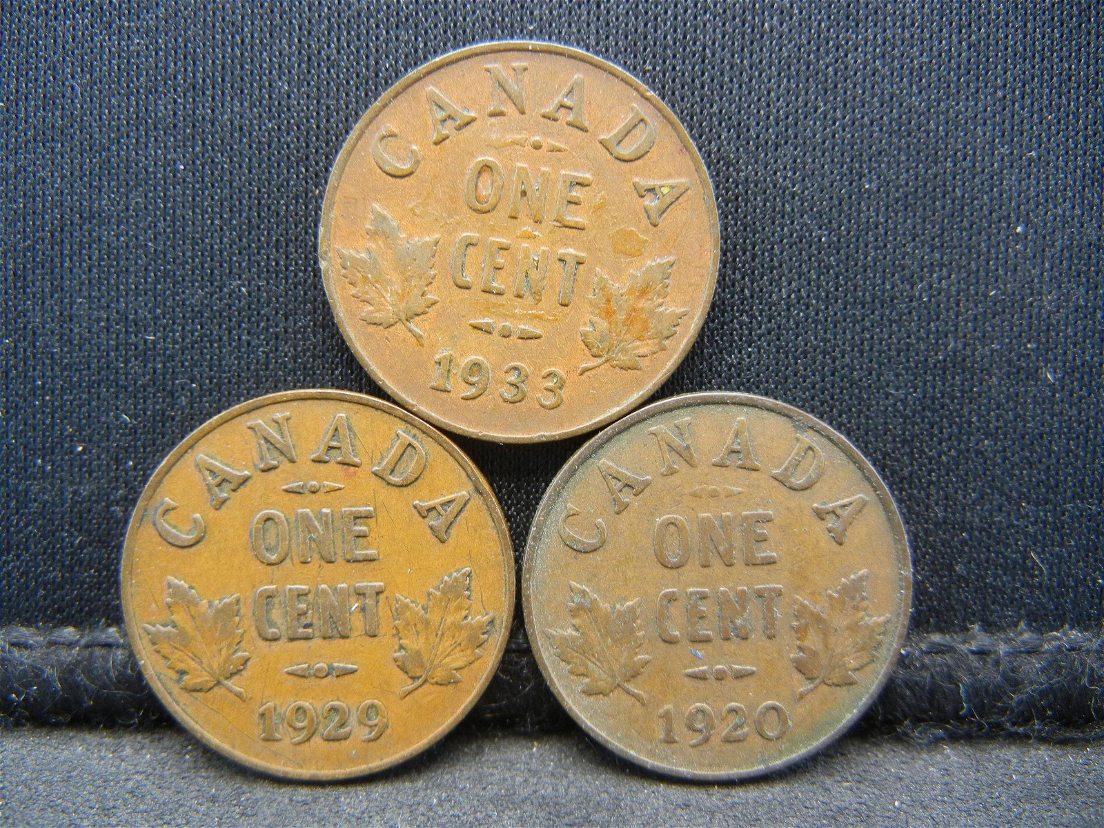 3 Canada George V Cents Dated 1920 1929 1933.