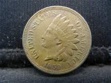 1859 CN Indian Head Cent, Civil War Year.