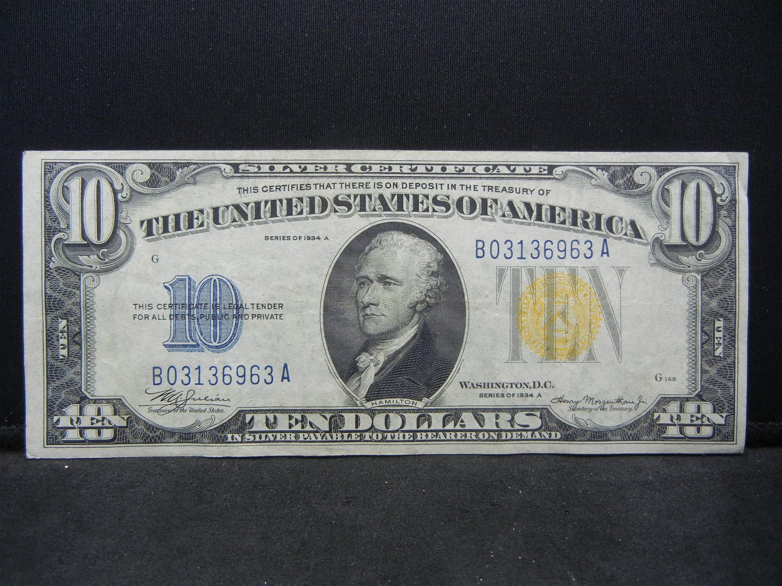 1934 A Gold Seal Ten Dollar Silver Certificate