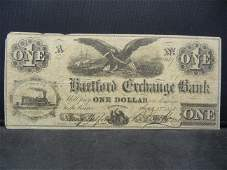 1858 Hartford Exchange Bank One Dollar Note