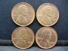 Four 1934 Red Brown Hi-Grade Lincoln Head Cents.