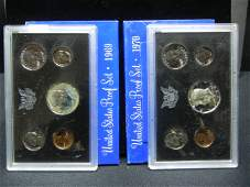 1969 & 1970 United States 5-Coin Proof Sets With