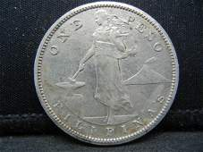 1908-S Philippines One Peso Silver Dollar Made by US