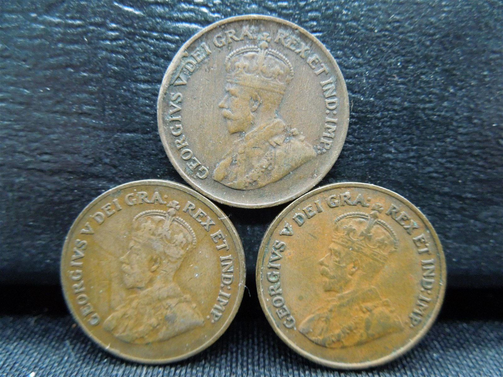 3 Canada George V Cents Dated 1920 1926 1928.