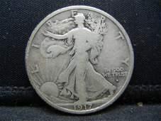 1917-D Obverse Walking Liberty Half Dollar FINE