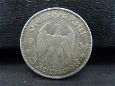 1934 Silver German Nazi 5 Reichsmark Coin