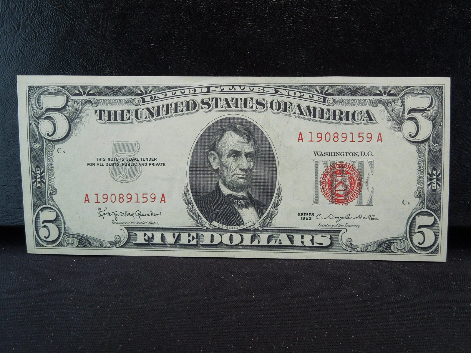 1963 Red Seal $5 US Note.  Choice Crisp Uncirculated.
