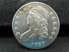 1829/7 Capped Bust Half Dollar AU+ Key Date