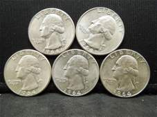 5 1964 UNCIRCULATED 90 Silver Washington Quarters