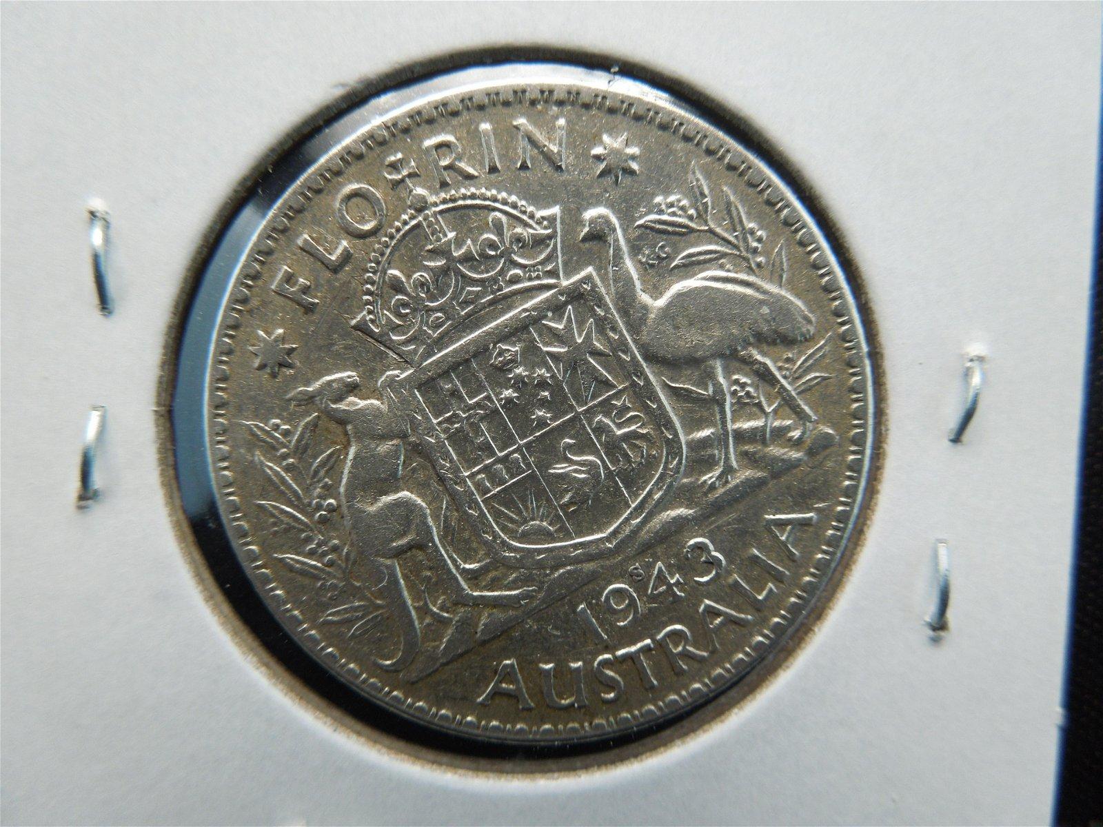 silver Australian one florin dated 1943