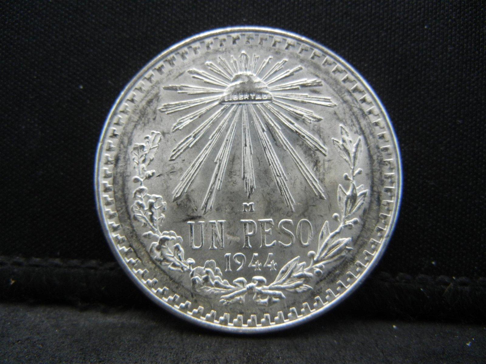 1944 Mexico Silver Un Peso Higher Grade Blast White!!