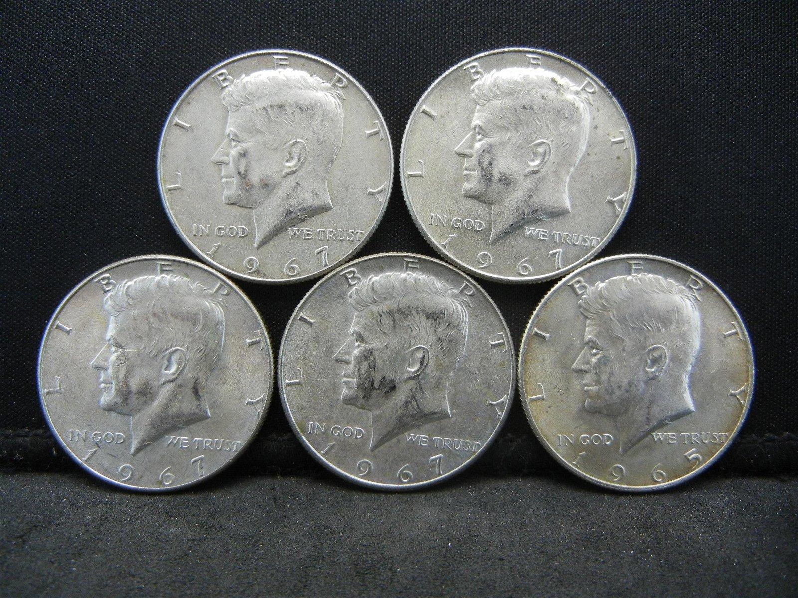 (5) 40% Silver Kennedy Half Dollars