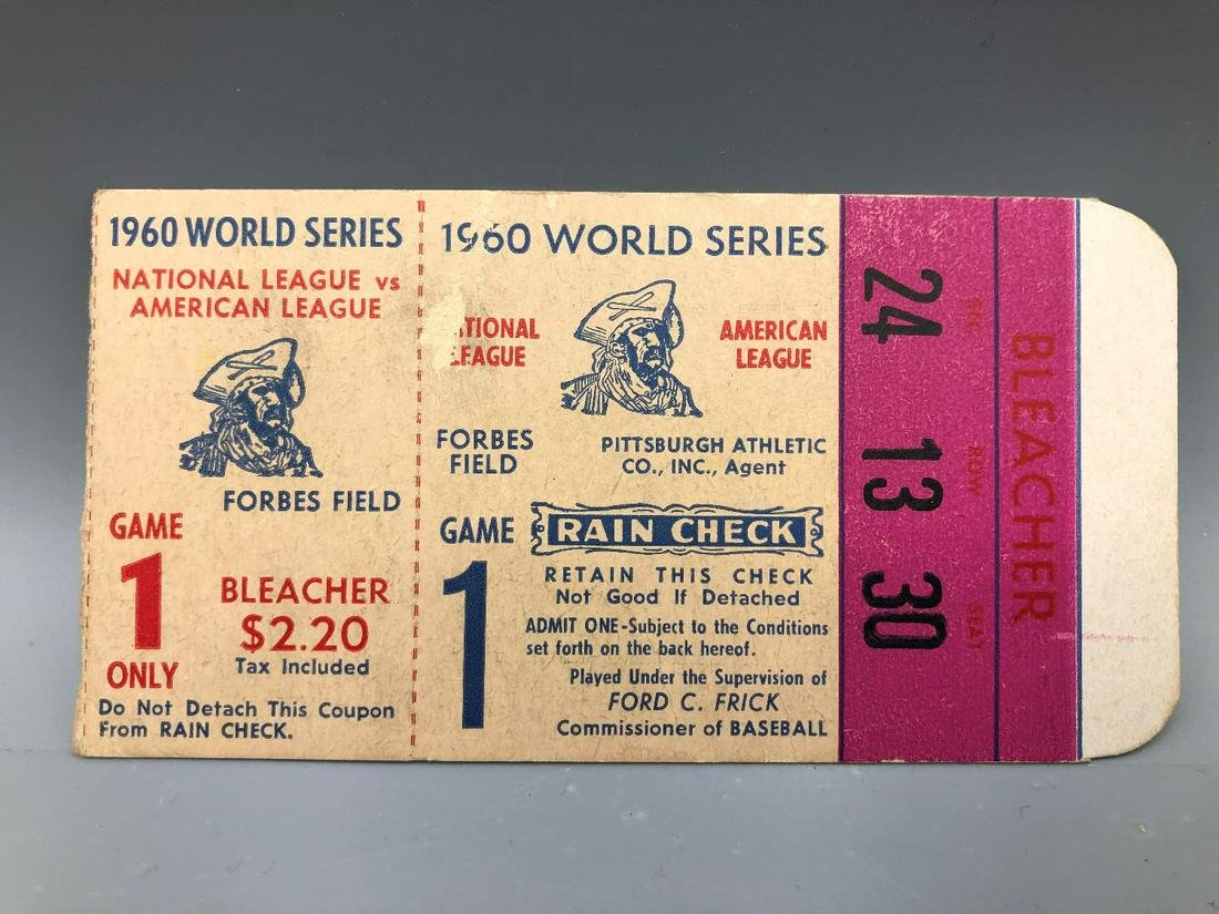 1960 World Series Game One Ticket Forbes Field Very