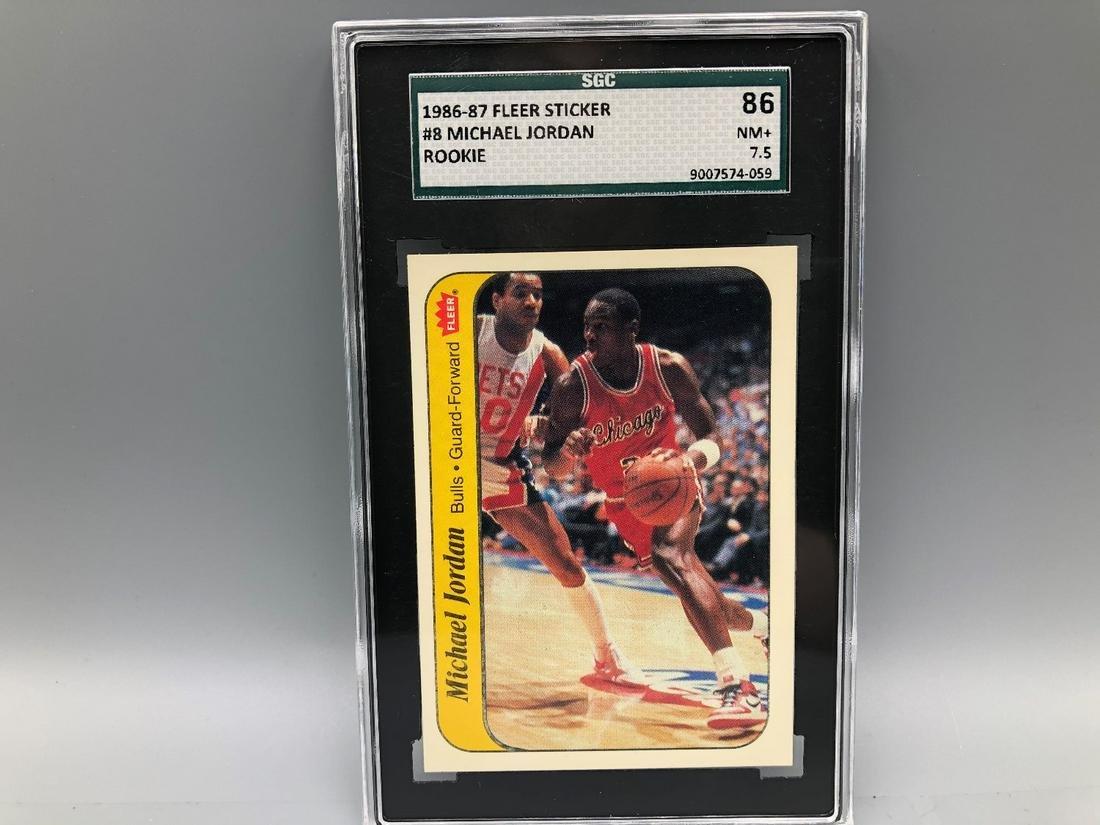 1986-87 Fleer Michael Jordan Sticker #8 Rookie SGC 86