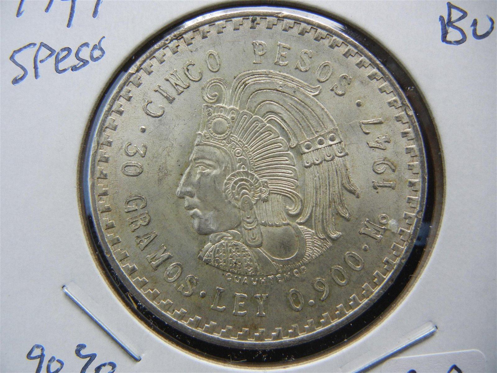 1947 Mexico 90% Silver 5 Peso.  Magnificent Mayan