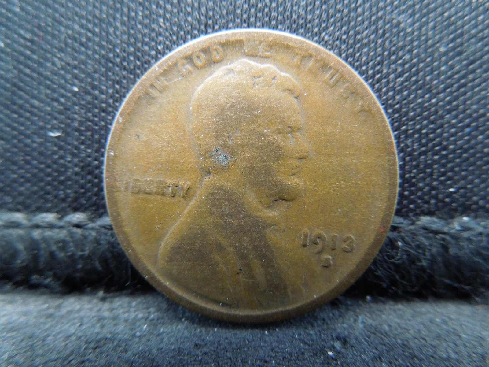 1913-S Key Date Lincoln Head Wheat Cent.