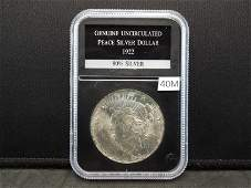 1922 Genuine Uncirculated Peace Silver Dollar Graded by
