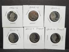6 Various Date S Proof Jefferson Nickels