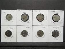 8 Various Date Jefferson Nickels