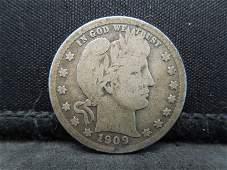 1909 United States Barber Silver Quarter